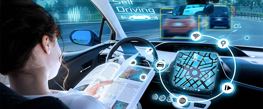 Abstract Visual Image Of Vehicle Cockpit And Screen, car electronics - automotive technology.