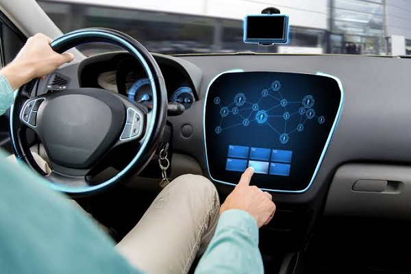 Image Representing Futuristic Vehicle And Graphical User Interface(GUI) - Intelligent Connected Car Concept.